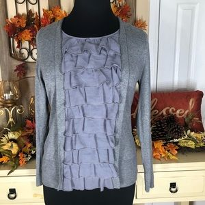 Joseph A.| women's grey ruffles blouse